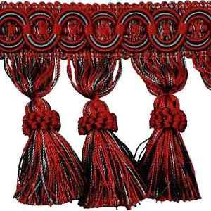 "4"" Black/Red/Gray Fabric Tassel Fringe Lampshade Home Decor Trim by the Yard"