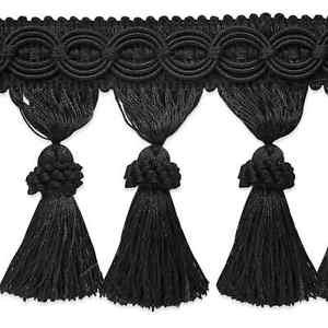 "4"" Black Fabric Tassel Fringe Lampshade Home Decor Trim by the Yard"