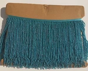 "1 Yard 6.5"" Turquoise Glass Seed Bead Beaded Fringe Lamp Lampshade Costume Trim"