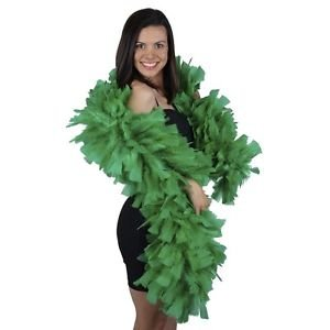 "Green 10-12"" Diameter 6ft Wire Wrapped Turkey Feather Boa Theater Quality Stage"