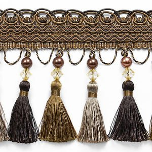 "By Yard-5.25"" Brown Pearl Beaded Tassel Fringe Lampshade Curtain Costume Trim"