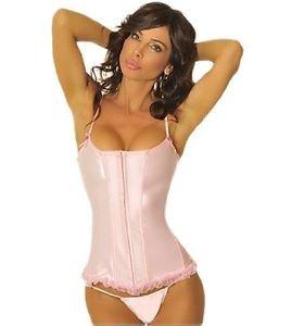 32(XS) Pink Ballerinta Costume Bridal Wedding Lace Up Corset Steel Spiral Boned