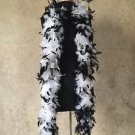 NWT Thick 120g Chandelle Feather Boa white/Black 6ft Flapper Burlesque Costume