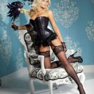 L(38)-Black Sequin & Feather Burlesque Waist Cincher Corset Burlesque Costume