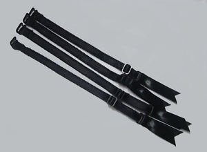 4 pc Heavy Duty Replacement Garter Strap Straps Set Black w/Metal Hardware Satin