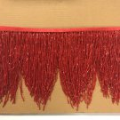 "5yd Bolt 6.5"" RED Glass BUGLE Bead Beaded Fringe CHEVRON Lamp Costume"