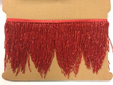 "5yd Bolt 6.5"" RED Glass BUGLE Bead Beaded Fringe CHEVRON Lamp Costume"