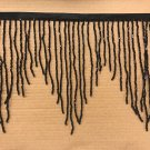 "By the Yard 6.5"" BLACK Glass BUGLE Bead Beaded Fringe CHEVRON Lamp Costume"