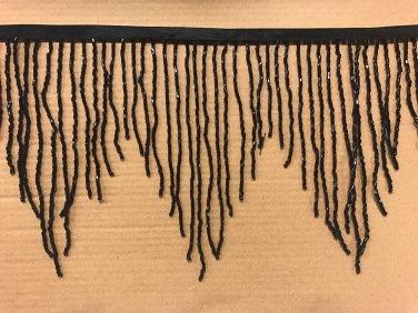 "By the Yard 6.5"" BLACK Glass BUGLE Bead Beaded Fringe CHEVRON Lamp Costume"