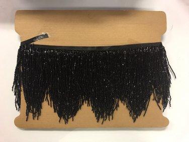 "5 yard bolt- 6.5"" BLACK Glass BUGLE Bead Beaded Fringe CHEVRON Lamp Costume"
