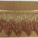 "5 yard bolt 6"" Gold/Copper Ombre BUGLE Beaded Fringe Chevron Lamp Costume Trim"