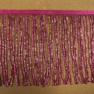 "By the Yard-6"" Glass FUCHSIA PINK BUGLE Seed Bead Beaded Fringe Lamp Costume Trim"