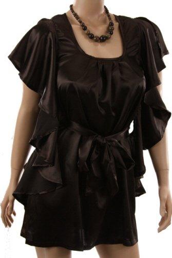 Elegant Silky Brown Flutter Sleeve Top Blouse Shirt (M)