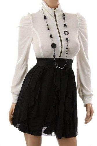 Casual White & Black Flutter Dress (M)