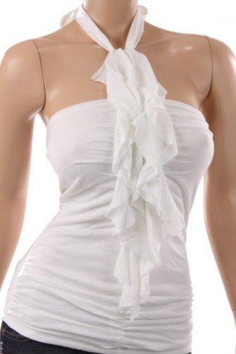 Sexy White Flutter Halter Top (M)