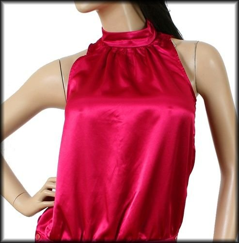 F21 Forever 21 Silky Magenta Halter Blouse Clubbing Top (S)