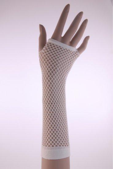 Long White Fishnet Armwarmers Gloves