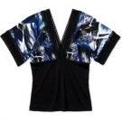Abstract Black Blue Kimono Top Blouse (S)