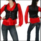 Red Collar Black Vest Flutter Sleeve Top Blouse (S)