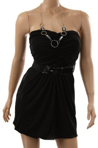 Black Belted Strapless Dress (M)
