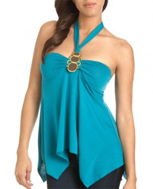 Wet Seal Tropical Turquoise Blue Halter Top Blouse (S)
