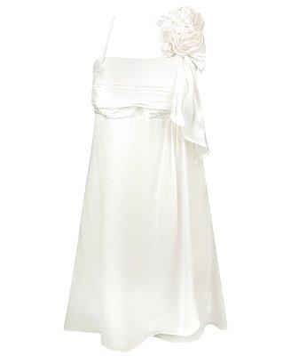 F21 Forever 21 White Satin Rosette Dress (M)