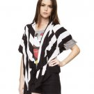 Forever 21 Black White Stripe Waterfall Cardigan