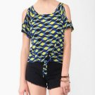 F21 Forever 21 Geo Print Tie Off Shoulder Tee Shirt Blouse M