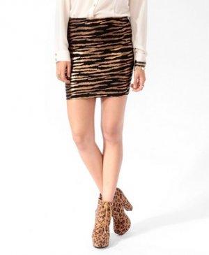F21 Forever 21 Metallic Copper Black Zebra Pattern Skirt S