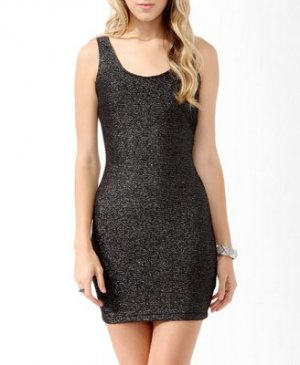 F21 Forever 21 Black Silver Metallic-Blend Matelassé Dress M