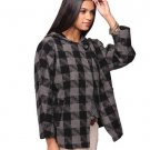 F21 Forever 21 Black Gray Checkered Hooded Princess Cape Coat Jacket Peacoat M