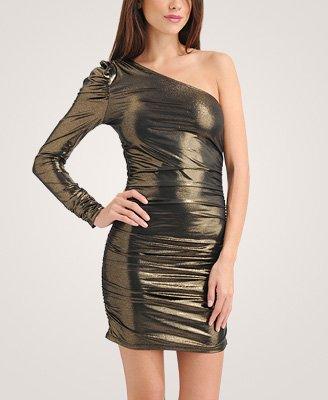 F21 Forever 21 Black Gold Shimmer One Shoulder Dress (S)