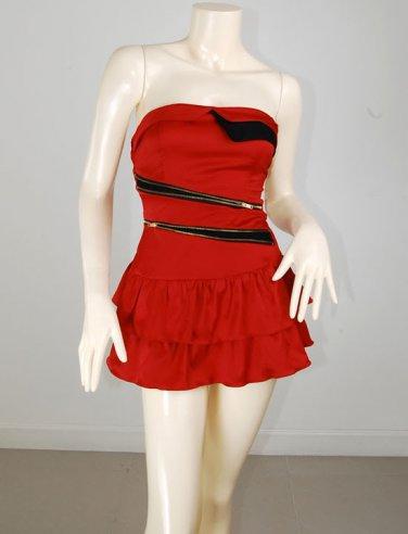 Red Zipper Tape Dress