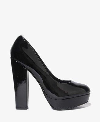 F21 Forever 21 Black Patent Platform Pumps High Heel Shoes 7