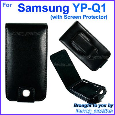 Black Leather Case Cover for Samsung YP-Q1 4GB 8GB 16GB MP3 Player (with Screen Protector)