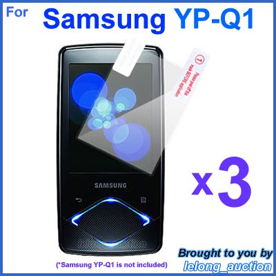 3x Clear Screen Protector Film for Samsung YP-Q1 4GB 8GB 16GB MP3 Player