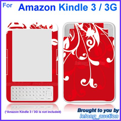 Vinyl Skin Sticker Art Decal Red Flower Design for Amazon Kindle 3 Wi-Fi 3G eBook Reader
