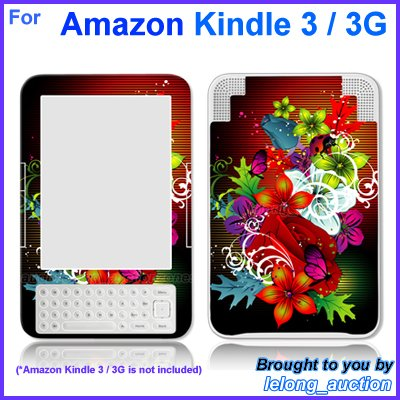 Vinyl Skin Sticker Art Decal Assorted Flower Design for Amazon Kindle 3 Wi-Fi 3G eBook Reader