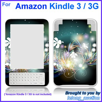 Vinyl Skin Sticker Art Decal Butterfly Glow Design for Amazon Kindle 3 Wi-Fi 3G eBook Reader