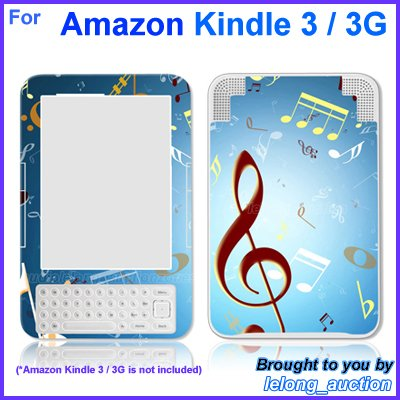 Vinyl Skin Sticker Art Decal Music Notes Design for Amazon Kindle 3 Wi-Fi 3G eBook Reader