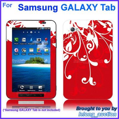 "Vinyl Skin Sticker Art Decal Red Flower Design for Samsung GALAXY Tab 7"" 7-inch Tablet"