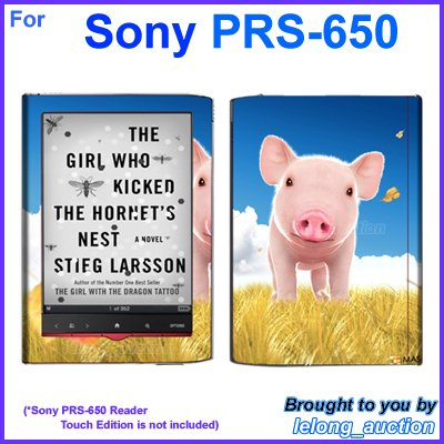 Vinyl Skin Sticker Art Decal Cute Pig Piggy Design for Sony PRS-650 Reader Touch Edition eReader