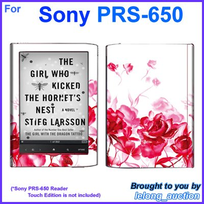 Vinyl Skin Sticker Art Decal Red Rose Design for Sony PRS-650 Reader Touch Edition eReader