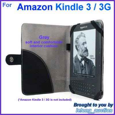 Black Genuine Leather Case Cover for Amazon Kindle 3 Wi-Fi 3G eBook Reader