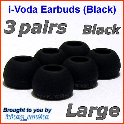 Large Ear Buds Tips Pads for Sennheiser IE 6 7 8 8i / MM 50 iP iPhone 200 30i 70i 80i Travel @Black