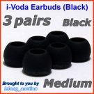 Medium Ear Buds Tips Pads for Sennheiser IE 6 7 8 8i / MM 50 iP iPhone 200 30i 70i 80i Travel @Black