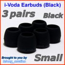 Small Ear Buds Tips Pads for Sennheiser IE 6 7 8 8i / MM 50 iP iPhone 200 30i 70i 80i Travel @Black
