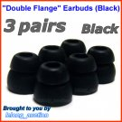 Replacement Double Flange Ear Buds Tips Pads Cushions for Denon In-Ear Earphones Headphones @Black