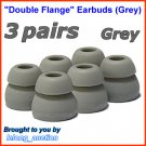 Replacement Double Flange Ear Buds Tips Pads Cushions for Denon In-Ear Earphones Headphones @Grey
