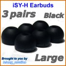 Large Replacement Ear Buds Tips Cushions for Sony XBA-1 XBA-1iP XBA-2 XBA-2iP XBA-3 XBA-3iP @Black